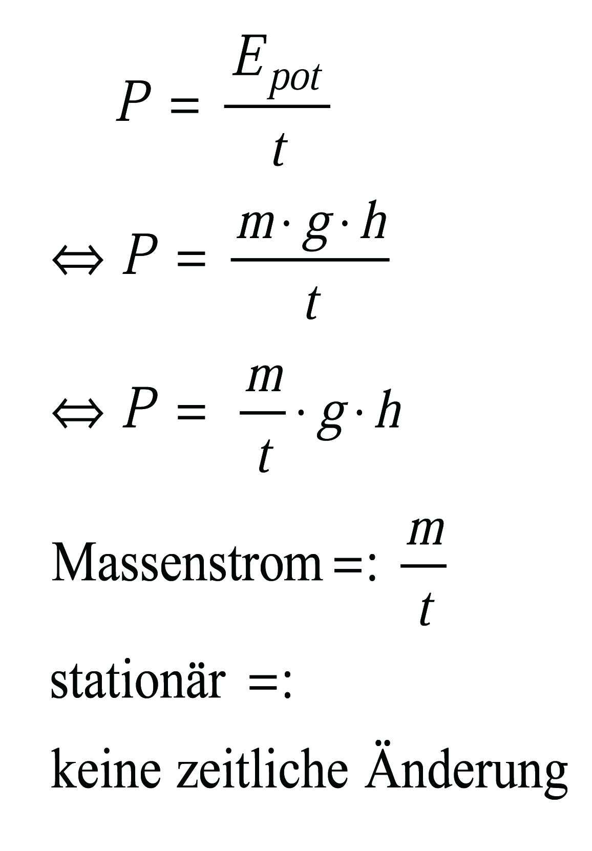 Massenstrom stationärer Fall, einfacher Quotient